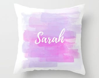 Watercolor Design, Custom Names, Pink Purple, Nursery Pillow, Customizable Decor, Girls Room, Fun Pillow Cover, White and Pink, Personalized