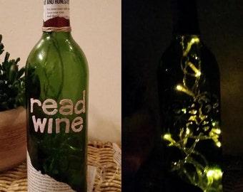 Book lovers unite :) Read (Red) Wine Bottle Light