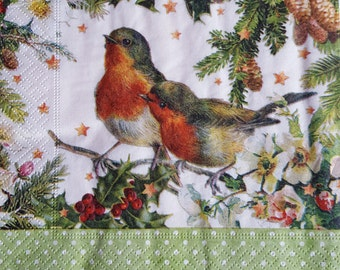 Set of 4 Paper Napkins Decoupage Craft Party,Robin in the Forest,Christmas Decoupage Idea,Winter Image,Craft supplies,Decoupage napkins set