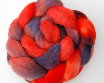 Hand dyed KENT ROMNEY wool roving spinning felting fibre, 100g/3.5oz