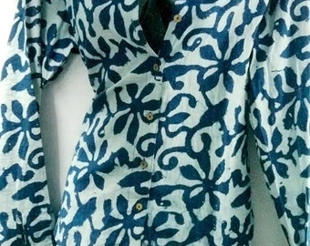 Women's Button Up Shirts Made to Order, Indigo Block-Print, 100% Cotton, Coconut Buttons