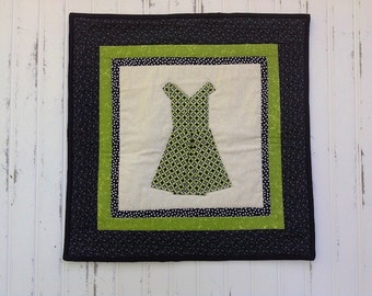 Green and Black Dress Wall Quilt