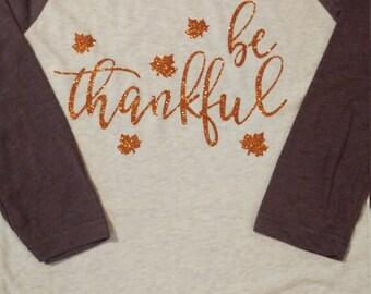 Be thankful baseball tee Thanksgiving shirt