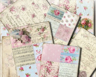 Millefleur Background / ATC gift tags gift cards / collage sheet / vintage ephemera / scrapbook paper / ATC background / shabby chic roses