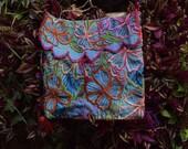 Mexican Embroidery Crossbody Bag l Handmade Cotton Messenger Bag l Mexican Folk Art l Indigenous Art of Chiapas l Flower Bag