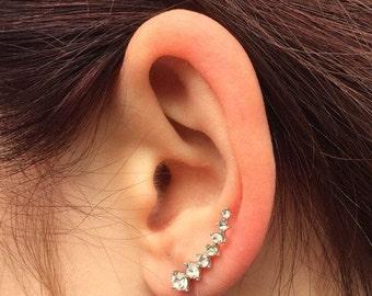 Silver plated  ear crawlers, ear climber, ear jacket, ear cuff