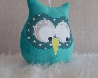 turquoise blue musical OWL cushion