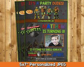 TMNT Invitation, Ninja Turtle Invitation, Teenage Mutant Ninja Turtle, Ninja Turtles Party, TMNT Party, Ninja Turtle Printables 5x7 or 4x6