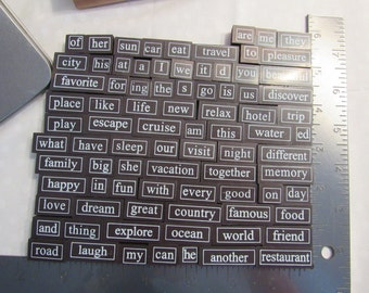 New Magnetic Poetry word stamp kit Travel and Vacation words