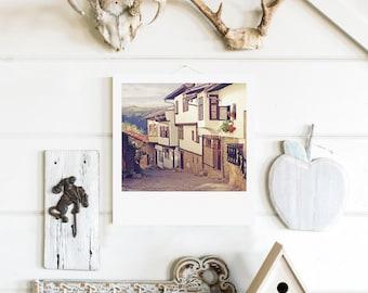 "Custom Polaroid Style Cotton Canvas Print with Copyright Photograph of Veliko Tarnovo - ""Time Machine"", 3 sizes available, Wall Decor Idea"
