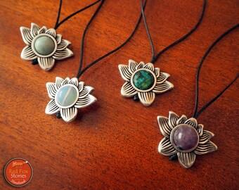 Lotus Necklace with Gemstone, Yoga Jewelry, Spiritual Jewelry, Lotus Necklace, Lotus Jewelry, Gemstone Necklace, Personalized Jewelry