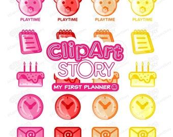 Planner Clip Art set, Digital stickers, Planner stickers,Cute, Lovely, Planner icons, Digital art, Digital Images, Scrapbook kit, CS162