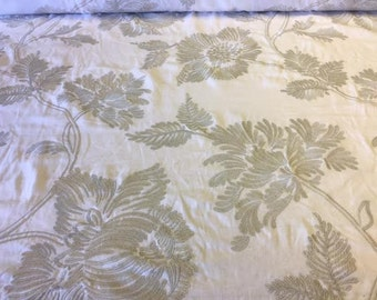 Silver embroidered floral print on white linen by the YARD!
