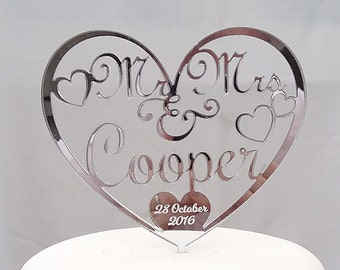 Personalised Mr & Mrs Wedding Cake Topper With Surname and Wedding Date