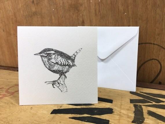 Wren Card • Wren Etching Print • Wren Art • Wren Greeting Card • Wren Birthday Card • Bird Card • Bird Etching Print • British Wildlife Card