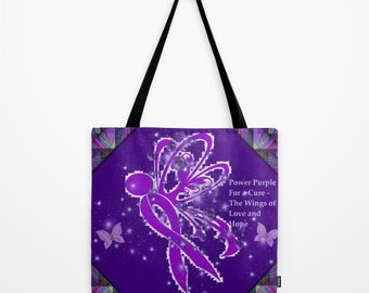 "Society6 Power Purple For a Cure -The Wings of Love Tote Bag 18"" X 18"""