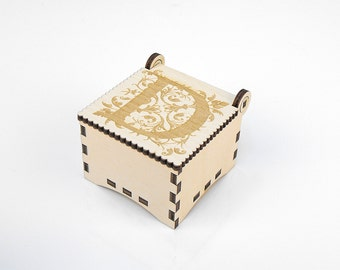 Wooden box, Small Secret Wood Box, (Engraved Letters - D), Gift Box With Lid, Jewelry box, Memory box