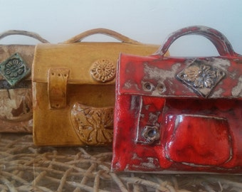 Ceramic sculpture,Sculpture Bag,ceramic handbag,Decorative Sculpture, fine art ceramic,art and Collectibles,ceramic bag, pottery ,red