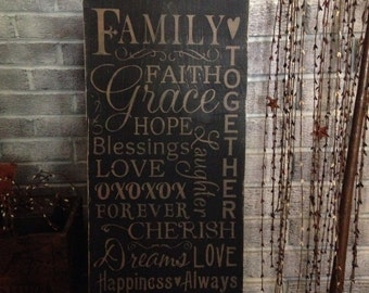Primitive wooden distressed Family sign