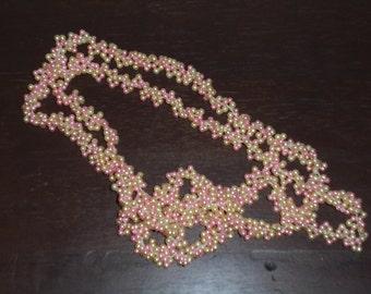 "Vintage Beaded Necklace - 48""   Soft Pastel Colors, 1960s 1970s"