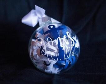 Personalized Custom Nautical Christmas Ornament / Last Name / Established / Holiday Decor