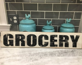 Grocery sign, Farmhouse decor, Kitchen signs, Kitchen decor, Rustic signs, Wood signs, Hand painted signs, fixer upper decor, fixer upper