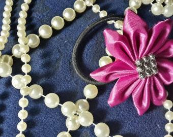 Magenta Satin Fabric Flower Hair Tie