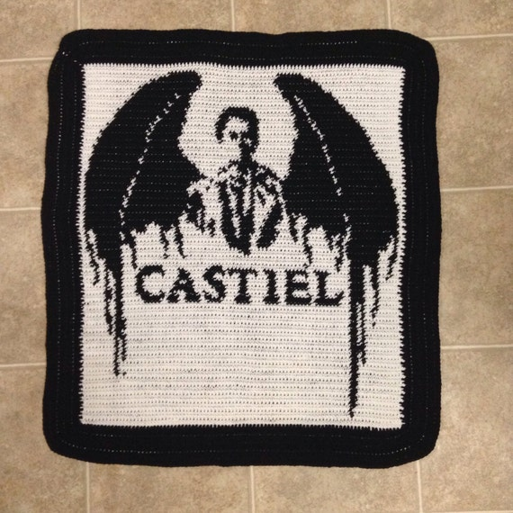Supernatural Castiel Black and White Throw Crochet Handmade