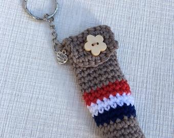 Crochet Lip Balm Holder with Keyring, Lip Balm Cozy keyring,
