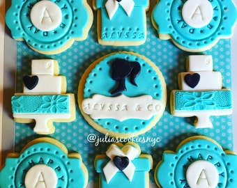 turquoise/ turquoise  cookies/ gift cookies/tiffany blue/tiffany &co bridal shower/cookies/sugarcookies/breakfast at tiffanys