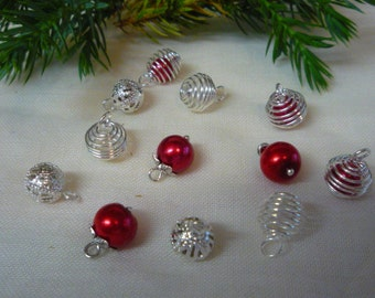 12 Dolls House Christmas Tree Bauble Miniature Decorations Red and Silver