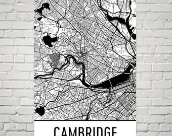 Cambridge Map, Cambridge MA Art, Cambridge Print, Cambridge MA Poster, Cambridge Wall Art, Cambridge Gift, Map of Cambridge, Cambridge Gift