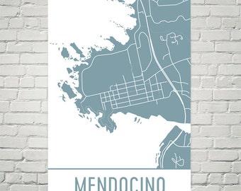 Mendocino Map, Mendocino Art, Mendocino Print, Mendocino CA Poster, Mendocino Wall Art, Mendocino Gift, Map of Mendocino, Mendocino Map Art