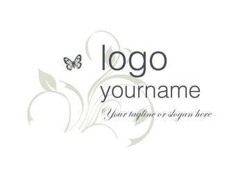 Pre-Made LOGO DESIGN - Customized with your Name! - Butterfly on a Leaf