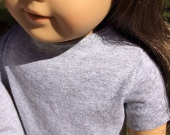 "13 colors! Classic cotton T shirt with back velcro closure for 18"" dolls.  Choose short or long sleeves."