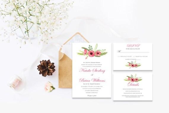 Floral wedding invite word_26,INSTANT DOWNLOAD, Editable Wedding template invitation. Microsoft Word template.Wedding Printable