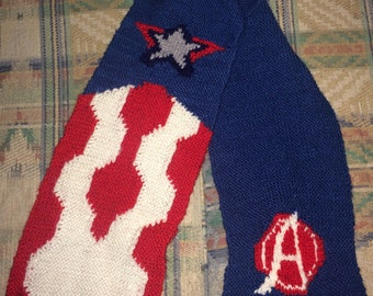 Captain America inspired hand knitted scarf