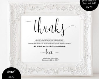 In Lieu of Favors Sign - Favors Sign, - Donation Sign, - lieu of favors wedding - DIY wedding - downloadable wedding signs #WDH0051