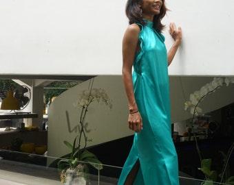 Satin halter Maxi long Dress,