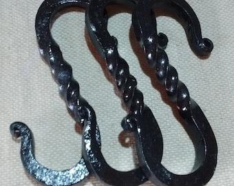 Hand forged S Hooks, (Set of Three)