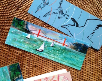 Golden Gate Bridge • Bookmark • San Francisco • Seagulls • illustrated • colorful • SF • hand drawn • books • sailboats • reading