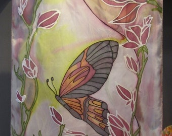 Hand painted Silk scarf flowers butterfly,soft purple scarf,soft green scarf,silk square scarf luxury accessory,Brooch flower free gift