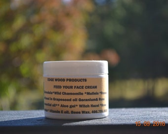 Feed Your Face Cream,all natural herbs with essential oils face cream. wild crafted or grown in Montana.