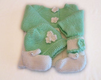 Green and White Sweater Set with Flower Buttons