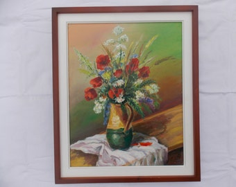 Poppy oil painting, oil picture, poppy flowers painting, gift idea, wall decor, unique, realist painting , decor, handmade 7