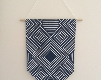 Blue & White Fabric Pendant Hanging
