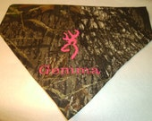 Dog Bandana, Pink, Camo, ,  Embroidery, Personalized, Mossy Oak, Over the Collar, Hunting