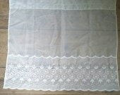 """Vintage White Lace Sheer Floral Embroidered Curtain. Vintage Sheer Curtain panel. Vintage Cafe Curtain panel. 35 x 26"""""""