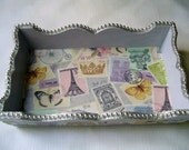 Jewelry tray, Parisian design jewelry tray, wood tray, ring storage, girls gift, pale gray paint, fabric, beaded