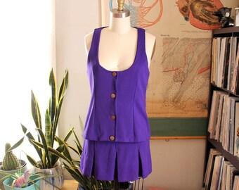 purple 1970s dress set . early 70s micro mini skirt with vest jacket . womens size small . purple pleated mini skirt . cheerleader skirt